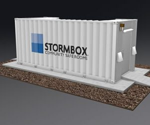 Animated image of the 20-foot above-ground community storm shelter by Stormbox in white with the Stormbox logo painted on the side.