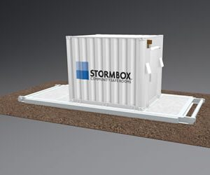 Animated image of the Stormbox 10' portable storm shelter in white with the Stormbox logo painted on the side.