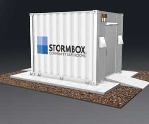 Animated image of the 10' Stormbox community storm shelter in white with the Stormbox logo painted on the side.