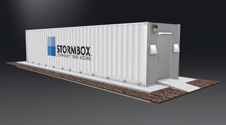 Animated image of the 40', 49-person Stormbox community storm shelter in white with the Stormbox logo painted on the side.